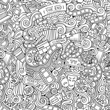 Cartoon doodles cinema seamless pattern 스톡 콘텐츠