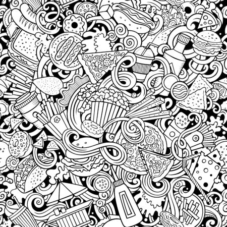 Fastfood hand drawn doodles seamless pattern. Fast food background Stock Photo