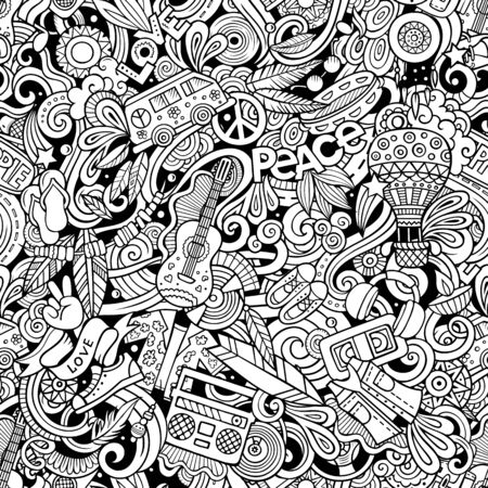 Garabatos dibujados a mano de dibujos animados sobre el tema del estilo Hippie Foto de archivo