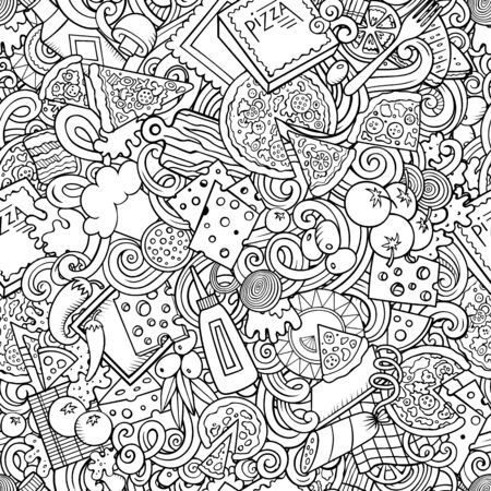 Cartoon cute doodles hand drawn Pizza seamless pattern