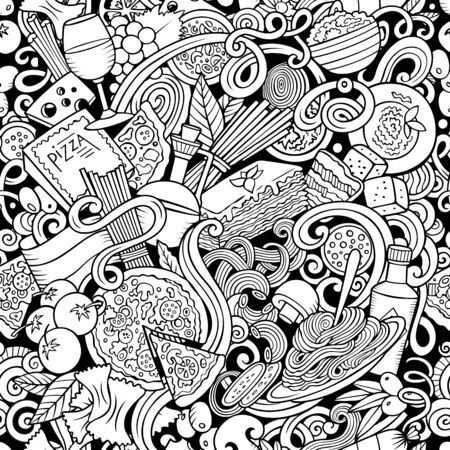 Cartoon cute doodles hand drawn Italian Food seamless pattern.
