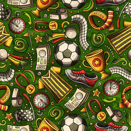 Cartoon hand-drawn Soccer seamless pattern. Lots of symbols, objects and elements. Perfect funny background.