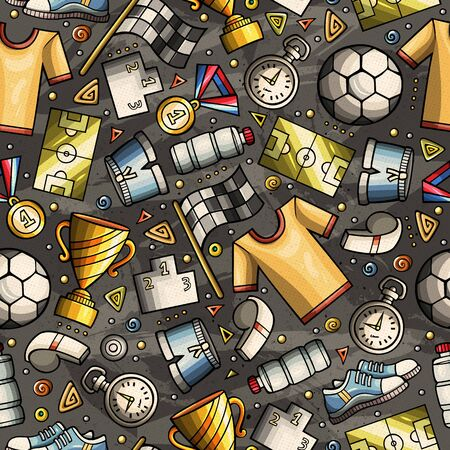 Cartoon cute hand drawn Sport seamless pattern. Colorful detailed, with lots of objects background. Endless funny illustration