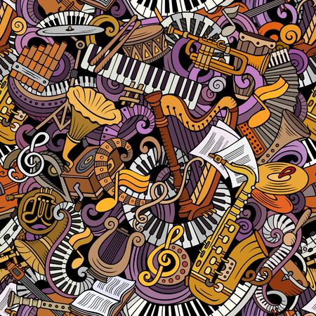 Cartoon cute doodles Classical music seamless pattern. Colorful detailed, with lots of objects background. Backdrop with musical instruments objects Stock Photo