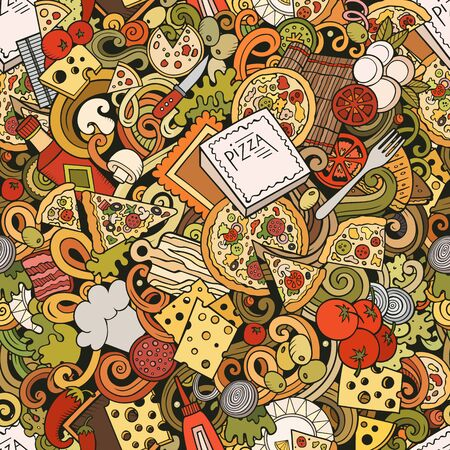 Cartoon cute doodles hand drawn Pizza seamless pattern. Colorful detailed, with lots of objects background. Endless funny illustration.