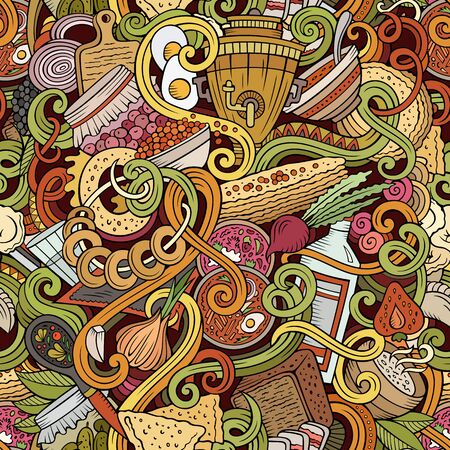 Cartoon cute doodles hand drawn Russian food seamless pattern. Colorful detailed, with lots of objects background. Endless funny illustration. Stock Photo