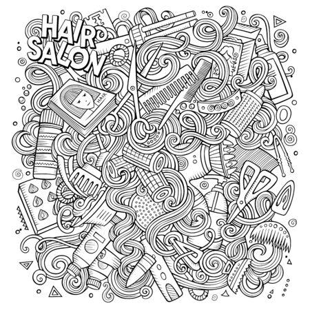 Cartoon cute doodles hand drawn Hair salon illustration