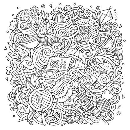Picnic hand drawn doodles illustration. BBQ poster design. Stock Photo