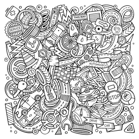 Cartoon doodles Automotive illustration. Line art, detailed, with lots of objects background. Sketchy Cars service funny picture Stock Photo