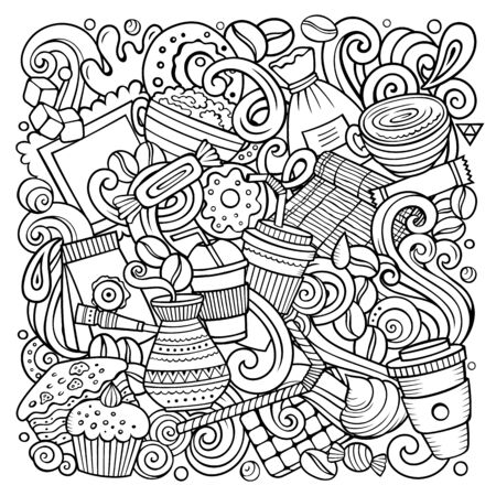 Cartoon doodles Coffee House illustration. Line art detailed, with lots of objects background. Sketchy Cafe funny picture