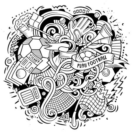Cartoon doodles Football illustration. Line art, detailed, with lots of objects background. Sketchy Soccer funny picture