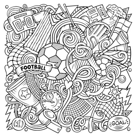 Cartoon doodles Football illustration. Colorful, detailed, with lots of objects background. Bright colors Soccer funny picture