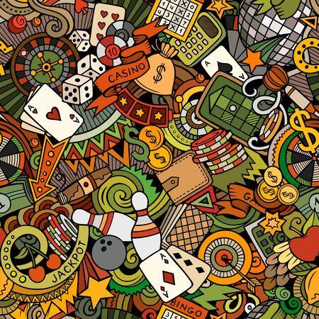 Cartoon cute doodles hand drawn Casino seamless pattern.