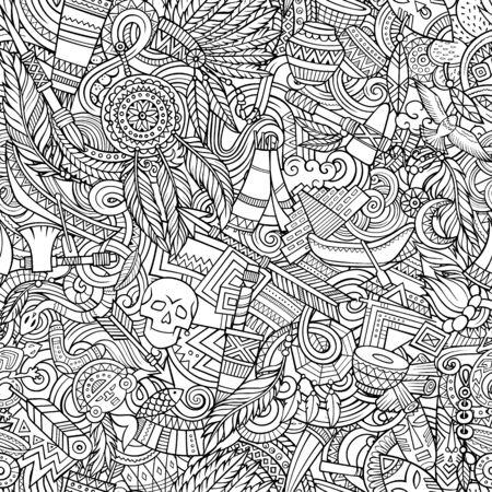 Cartoon cute doodles hand drawn Native American seamless pattern.