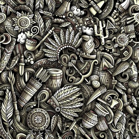 Cartoon cute doodles hand drawn Native American seamless pattern.  イラスト・ベクター素材