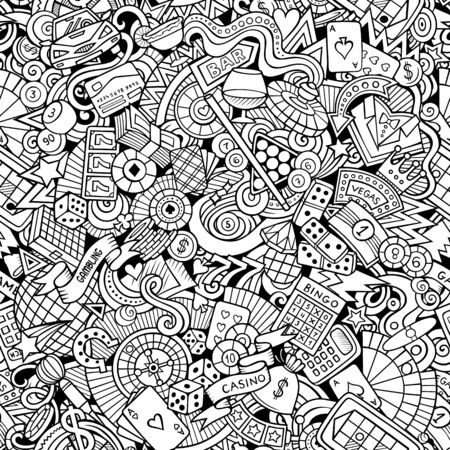 Cartoon cute doodles hand drawn Casino seamless pattern.