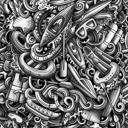 Cartoon cute doodles hand drawn water extreme sports seamless pattern. 版權商用圖片 - 137062150