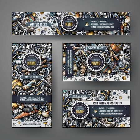 Corporate Identity vector templates set design with doodles Winter sport