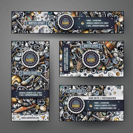 Modelli vettoriali di identità aziendale scenografia con scarabocchi Sport invernali