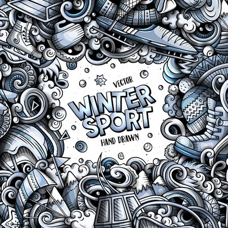 Winter sports hand drawn vector doodles illustration. Ski resort card design.