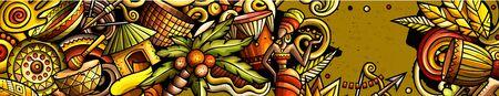 Africa hand drawn doodle banner. Cartoon detailed flyer.