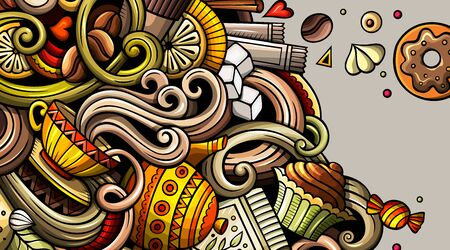 Banner de doodle dibujado a mano de café. Volante detallado de dibujos animados. Identidad cafetera con objetos y símbolos. Fondo de elementos de diseño de vector de color