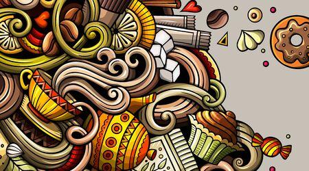 Café handgezeichnete Doodle-Banner. Detaillierter Flyer der Karikatur. Kaffeeidentität mit Objekten und Symbolen. Hintergrund der Farbvektorgestaltungselemente