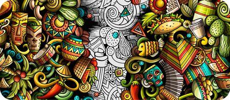 Bandera de doodle dibujado a mano de América Latina. Volante detallado de dibujos animados. Ilustración de vector