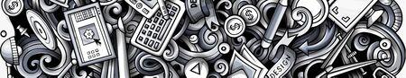 Designer hand drawn doodle banner. Cartoon detailed design.