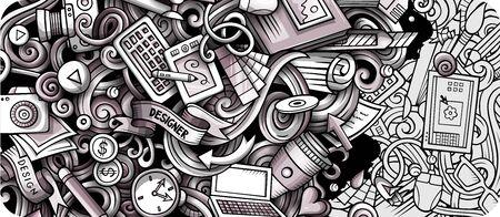 Designer hand drawn doodle banner. Cartoon detailed flyer.