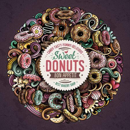 Donuts hand drawn  doodles illustration. Sweets poster design.
