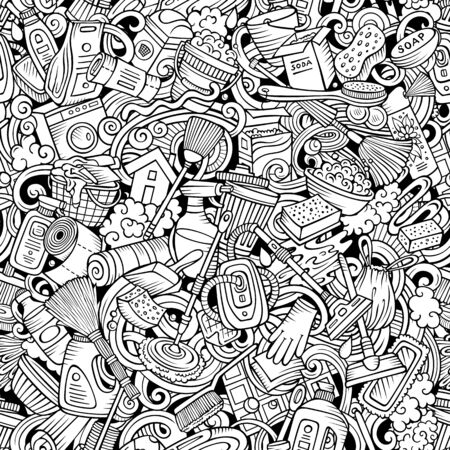 Cartoon cute doodles hand drawn Cleaning seamless pattern Stock Illustratie