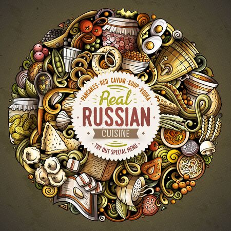 Russian food hand drawn doodles round illustration. Russia cuisine poster