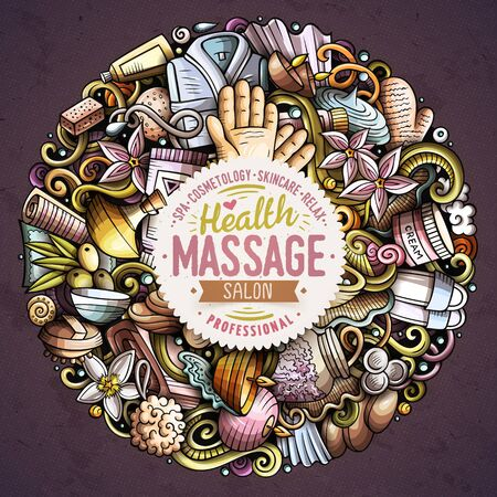 Massage hand drawn vector doodles round illustration. Spa salon poster design  イラスト・ベクター素材