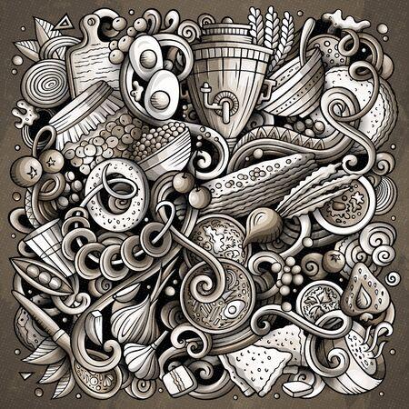 Illustration de griffonnages dessinés à la main de cuisine russe. Conception d'affiches de cuisine russe. Fond de dessin animé d'éléments et d'objets nationaux. Image drôle tonique