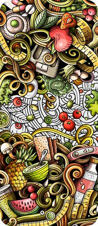 Diet food hand drawn doodle banner. Cartoon detailed flyer. Dietic identity with objects and symbols. Color vector design elements background Foto de archivo - 138192095