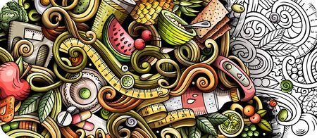 Diet food hand drawn doodle banner. Cartoon detailed flyer. Foto de archivo - 138196798