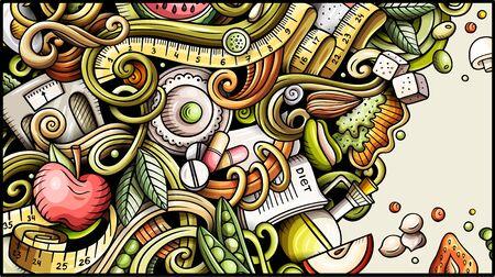 Bannière de doodle dessinés à la main de nourriture diététique. Dépliant détaillé de dessin animé. Vecteurs