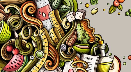 Diet food hand drawn doodle banner. Cartoon detailed flyer.