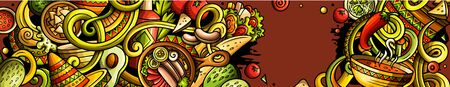 Mexican food hand drawn doodle banner. Cartoon detailed flyer. 일러스트
