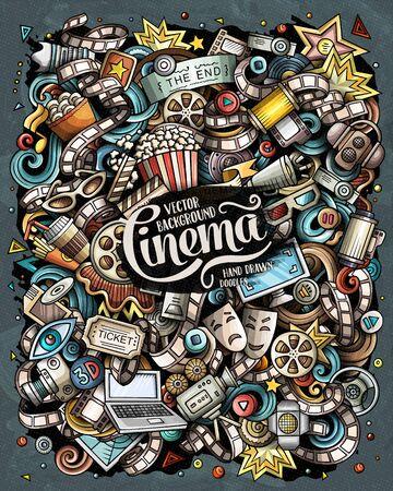 Cartoon vector doodles Cinema illustration. Movie funny picture