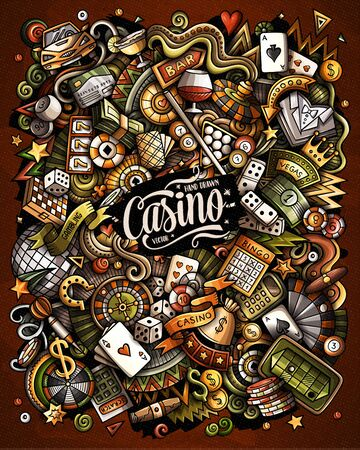 Casino hand drawn vector funny doodles illustration.