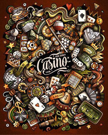 Casino hand drawn vector funny doodles illustration.