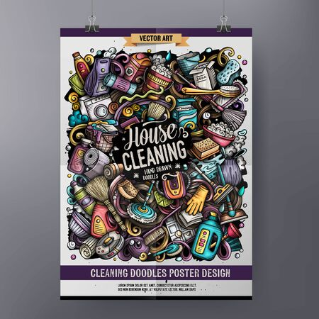Cartoon colorful hand drawn doodles Cleaning poster