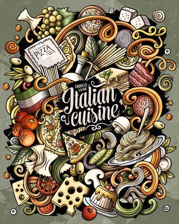Cartoon vector doodles Italian Food funny illustration