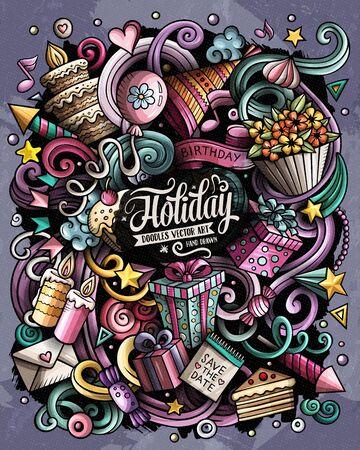Holiday hand drawn vector doodles illustration. Birthday poster design Vector Illustration