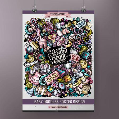 Bunte handgezeichnete Kritzeleien der Karikatur Babyplakat Vektorgrafik