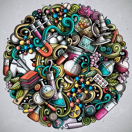 Science hand drawn vector doodles illustration. Poster design.