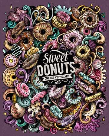 Donuts hand drawn vector doodles illustration. Sweets poster design.