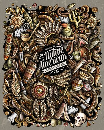 Native American hand drawn vector doodles illustration.